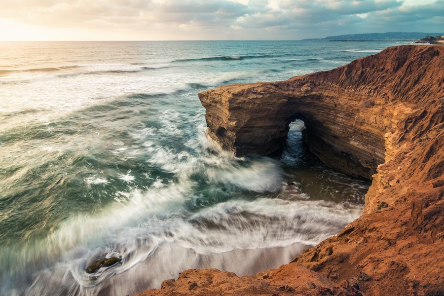 Rushin' In by My Le - Landscapes Waterscapes ( san diego, waterscape, waves, sunset, landscape photography, long exposure, ocean, seascape, beach, landscape, coast )