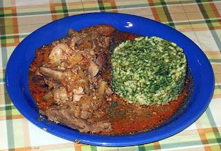 Photo: Wątróbka duszona (kurza i wieprzowa), ryż ze szpinakiem i zacierkami. 49