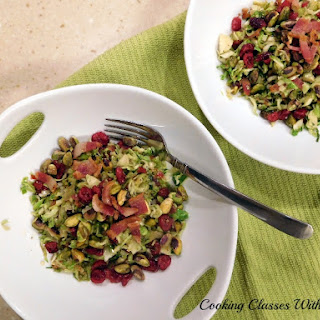 Warm Brussel Sprout Salad with Pistachios and Cranberries