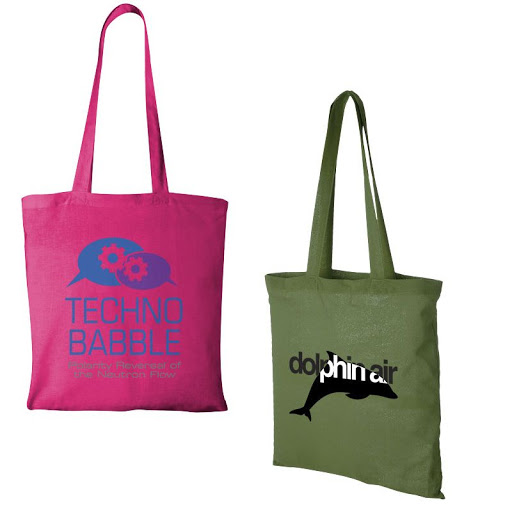 Printed Colour Cotton Bags (Long Handles)