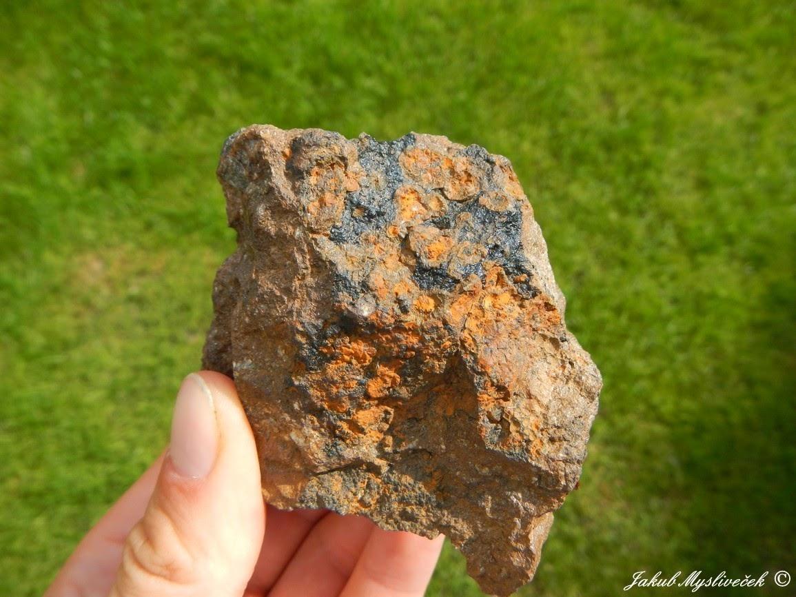 Photo: Částečně přeměněný natrodufrenit v limonit na goethitu (Poniklá u Jilemnice). Velikost vzorku 74 mm. Nalezeno dne 15.8. 2016.