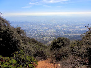 Photo: View south from Glendora Peak (2596') with Barranca Avenue on the right and Grand Avenue on the left