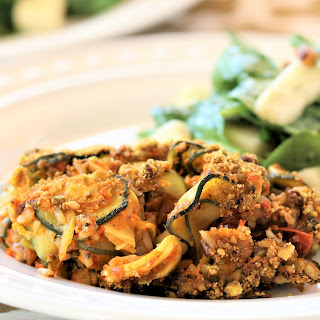 Zucchini Rice With Roasted Red Pepper Pesto.