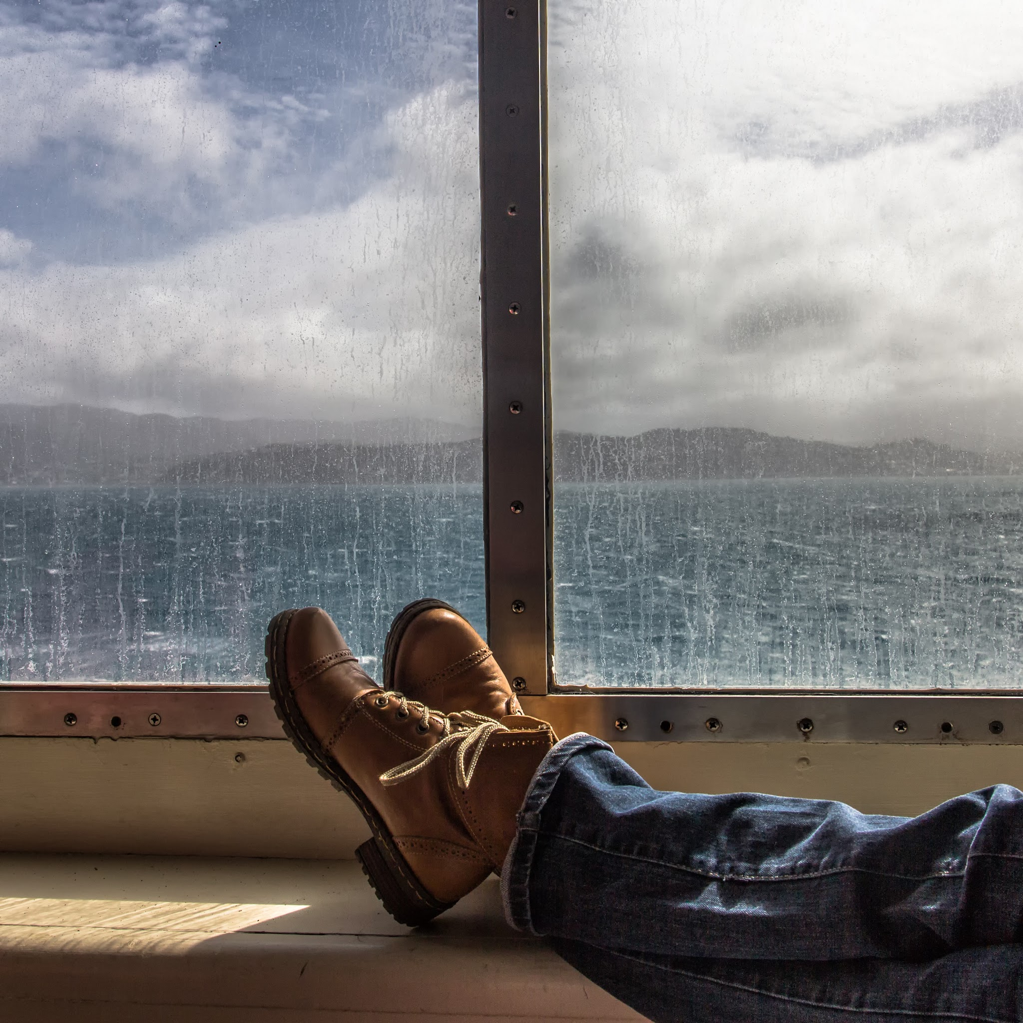 Photo: (Trying to) enjoy the view  @ Cook Strait, New Zealand (September 2013)