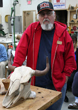 Photo: Ed Karch and his mostly-turned (yes, indeed!) bison skull.  It was inspired by one hanging in his shop.