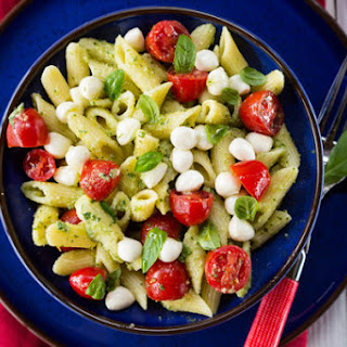 Pasta Salad with Pesto, Mozzarella and Tomatoes.