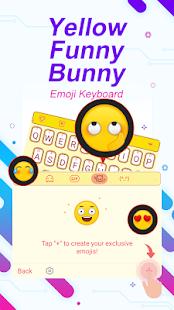 Yellow Funny Bunny Theme&Emoji Keyboard - náhled