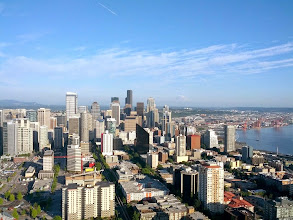 Photo: Mount Rainier and downtown Seattle from the Space Needle