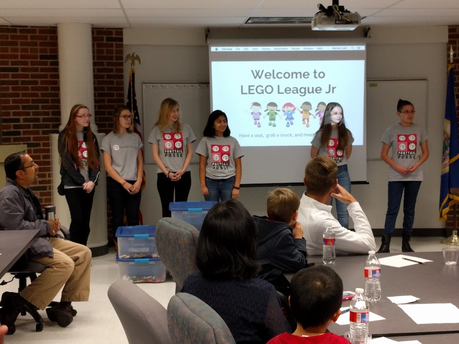 The Posse being introduced to the FLL Jr. parents