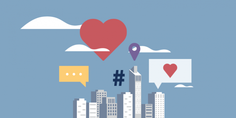 illustration of buildings with symbols for social media at the top (heart, text box, hashtag, location sign)
