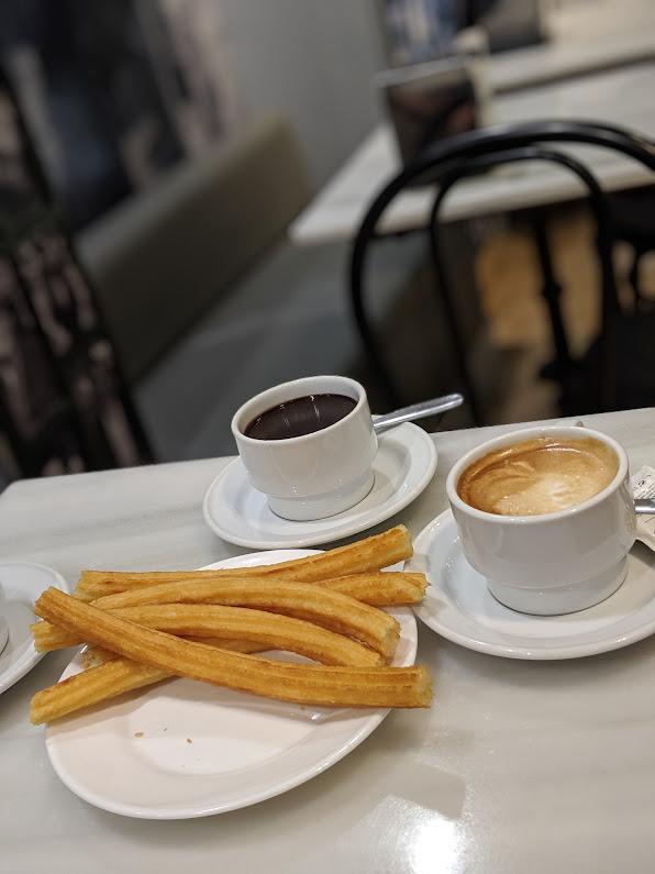 Churros and hot chocolate at Barcelona's Chocolatería San Ginés