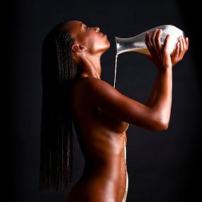 Chocolate and milk by Christina Børding - Nudes & Boudoir Artistic Nude ( black woman milk low-key nude )