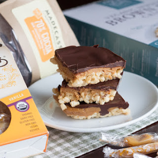 Chocolate, Caramel and PB Rice Krispy Squares