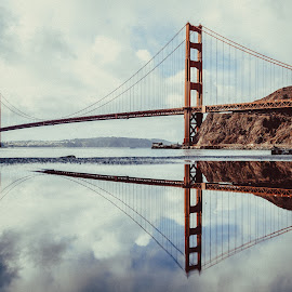 Reflection by Marc Anderson - Buildings & Architecture Bridges & Suspended Structures ( golden gate bridge, reflection, bridge, water, san francisco )