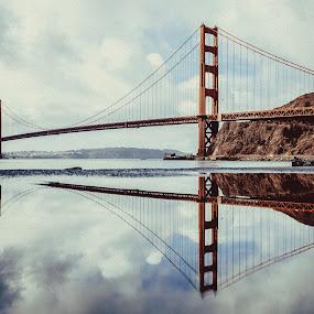 Reflection by Marc Anderson - Buildings & Architecture Bridges & Suspended Structures ( golden gate bridge, reflection, bridge, water, san francisco )