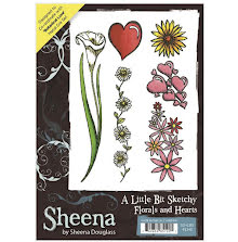 Sheena Douglass A Little Bit Sketchy A6 Stamp Set - Florals and Hearts UTGÅENDE