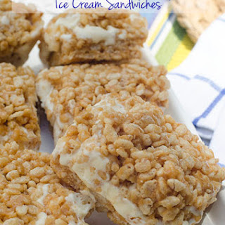 Peanut Butter Rice Krispie Ice Cream Sandwiches