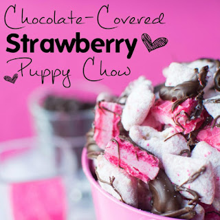 Chocolate-Covered Strawberry Puppy Chow