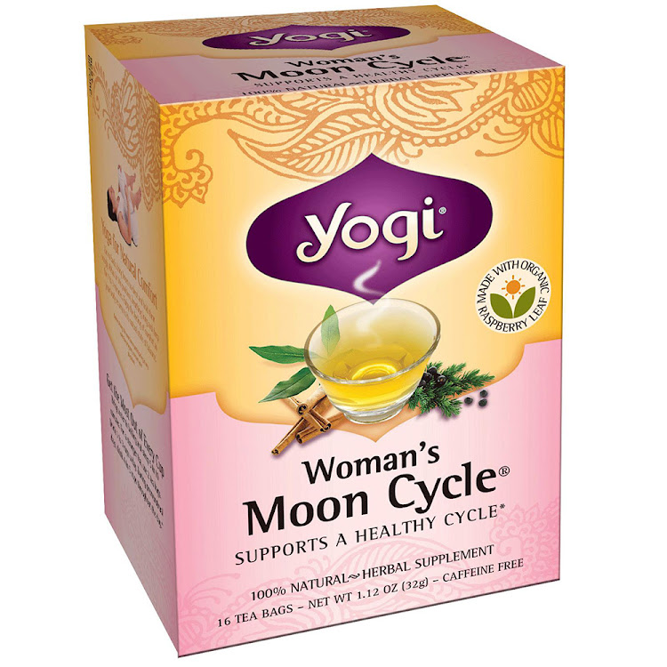 Yogi Moon Cycle Tea relieves period cramps menstrual pains, 16 Tea Bags by Supermodels Secrets