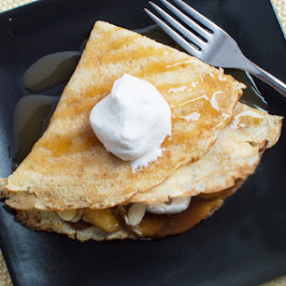 Amaretto Crepes with a Banana-Brown Butter Sauce.