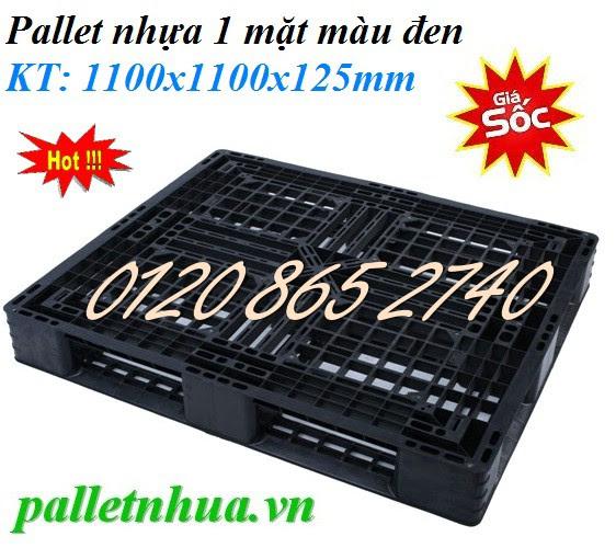 Pallet nhựa 1100x1100x125mm - màu đen