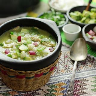 Pozole Verde de Pollo (Green Mexican Hominy and Chicken Soup).