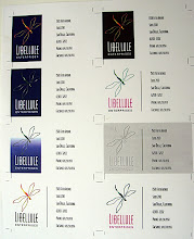 Photo: Typical example of a logo re-design, with variations on business card layouts.