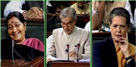 Photo:  New Delhi: UPA Chairperson Sonia Gandhi and Leader of Opposition Sushma Swaraj look on as Union Railways Minister Pawan Kumar Bansal presents the Rail Budget 2013-14 in the Lok Sabha in New Delhi on Tuesday. PTI Photo / TV GRAB (PTI2_26_2013_000094A)