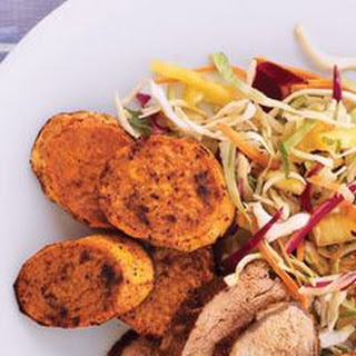 Jerk Pork and Sweet Potatoes with Pineapple-Lime Slaw