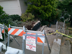 Photo: Top of Hidden Garden Steps site (16th Avenue, between Kirkham and Lawton streets in San Francisco's Inner Sunset District) in December 2012 as removal of damaged retaining wall was underway; for more information about the Hidden Garden Steps project, please visit http://hiddengardensteps.org.