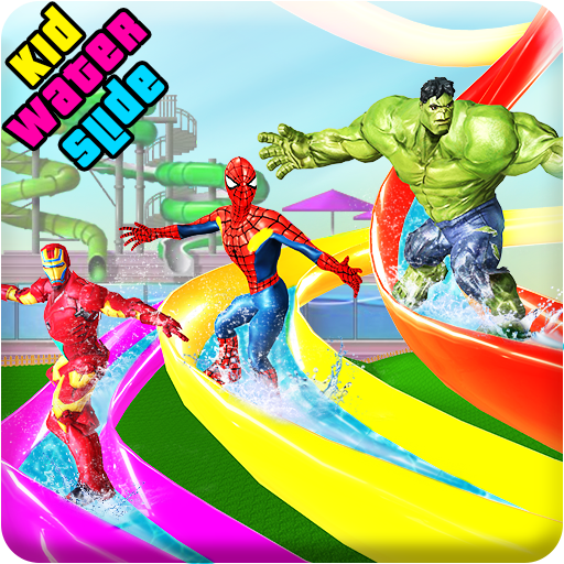 Kids Super Hero Water Slide Amusement Park Uphill