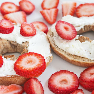 Whole Wheat Bagel with Organic Cream Cheese and Strawberries