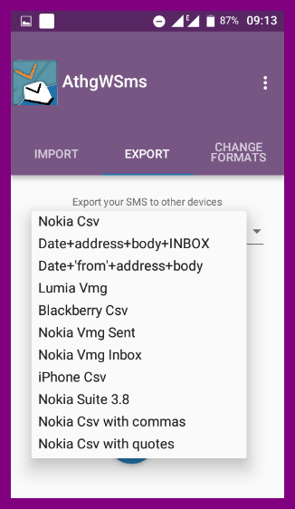 Any(thing, VMG, CSV) with SMS- screenshot