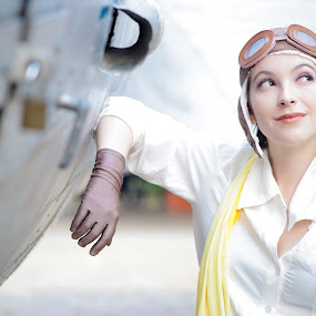 by Gabriel Fox - People Portraits of Women ( cosplay, gloves, goggles, airplane, aviator, comics, power, girl, aero,  )