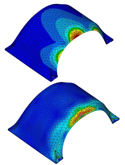 ANSYS Поле перемещений в расчёте крыла Onewheel