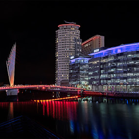 Night at the BBC by Vincent Yates - Buildings & Architecture Architectural Detail ( bbc, reflection, salford quays, media city, night, night photography, colours,  )