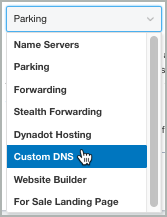 From the open list, Custom DNS is selected