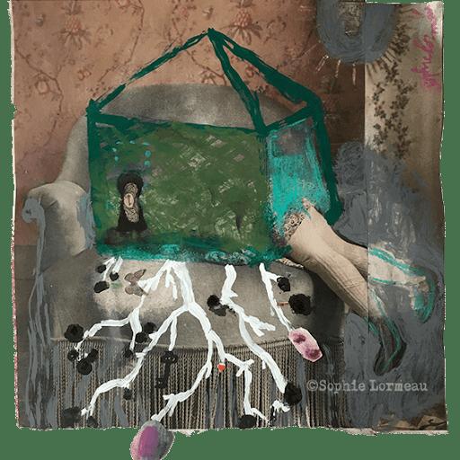 la-maison-a-remonter-le-temps-enfance-childhood-souvenir-racine-ancetre--sophie-lormeau-peinture-artiste-contemporaine-papier-magazine-upcycling-chagall-singuler-art-figuratif-recyclage-colorful-root