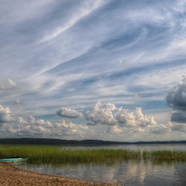 Clouds over the lake by Irena Gedgaudiene - Landscapes Cloud Formations ( clouds, reflection, summer, lake, july, evening,  )