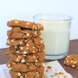 Sweetpotato Teff Peanut Butter Cookies with Optional White Chocolate Chips.