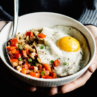 Cheesy Oatmeal Bowl with Fried Egg