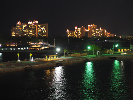 Atlantis Hotel at night from our Balcony before pulling out of Nassau on the Enchantment of the Seas
