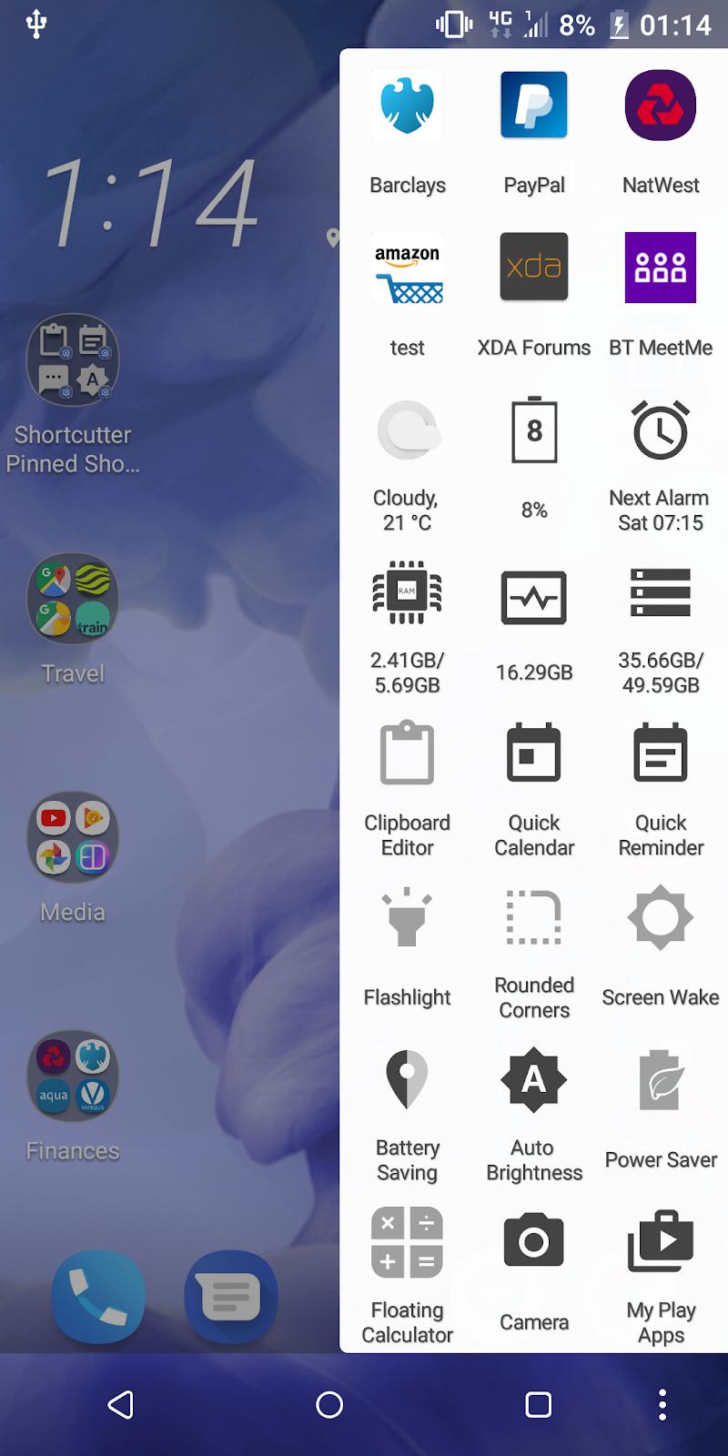 Shortcutter Quick Settings, Sidebar & Shortcut's. Screenshot 1