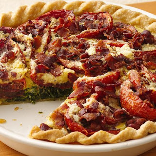 Balsamic Roasted Tomato-Spinach-Bacon Pie.