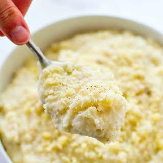Crockpot Three-Cheese Mashed Potatoes.