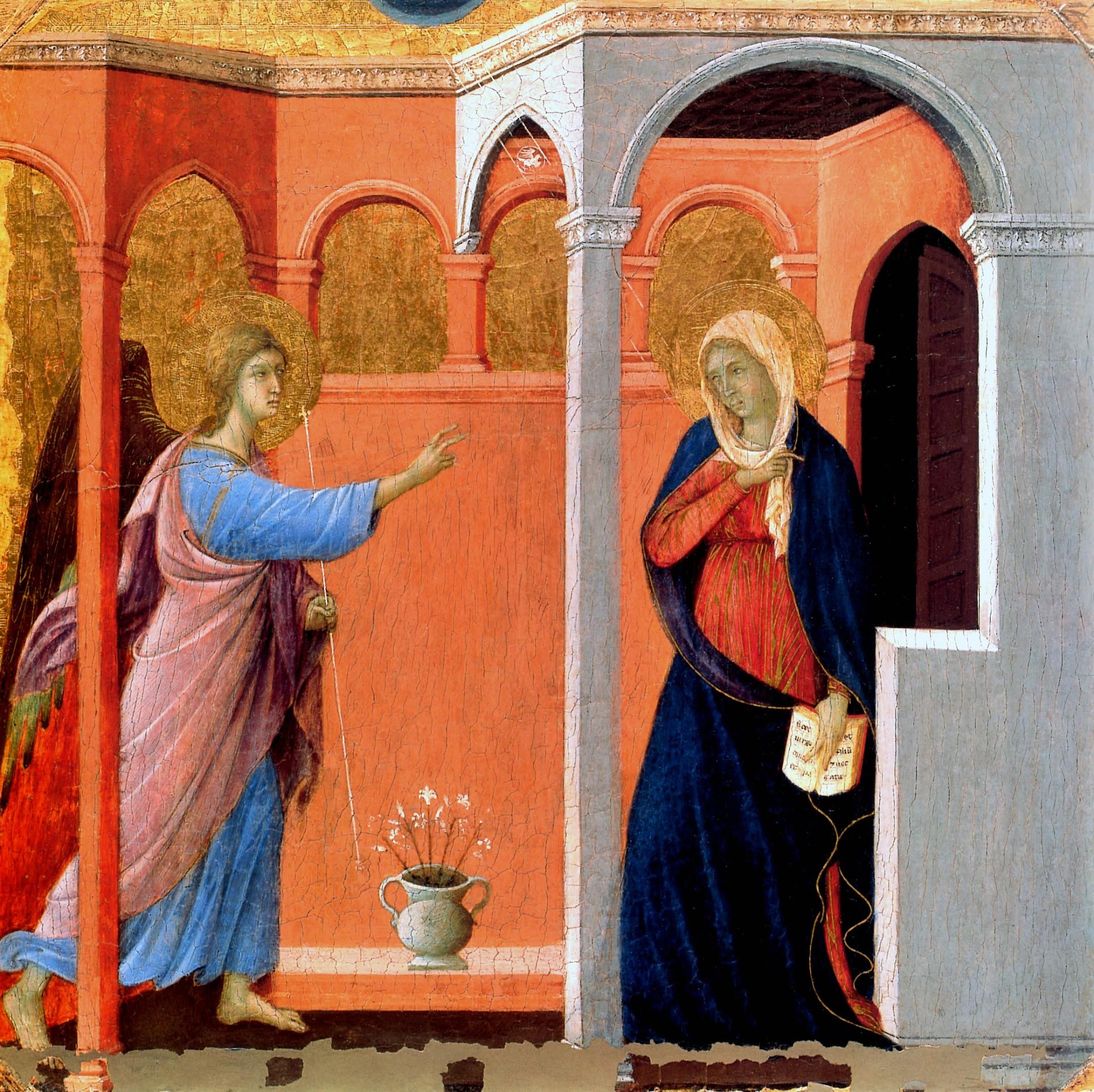 Duccio di Buoninsegna, Predella della Maestà, L'annunciazione (Londra,National Gallery)
