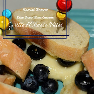 Special Reserve Extra Sharp White Cheddar Grilled Cheese Bites with Blueberries.