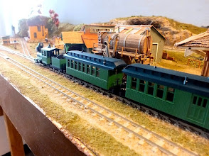 Photo: 096 One of the new Minitrains HOn30 Fiddletown & Copperopolis trains arrives at Secaville depot, with bells clanging and Westinghouse pump panting………….