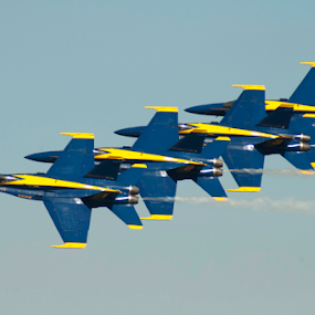 Blue Angels formation by Gayle Mittan - Transportation Airplanes ( sky, pilot, blue & yellow, navy, blue angels, air force, formation, jets, airport, air show, marines, 4 jets, airplane, jet, military, us,  )