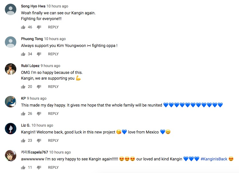 Kangin YouTube Supportive Comments